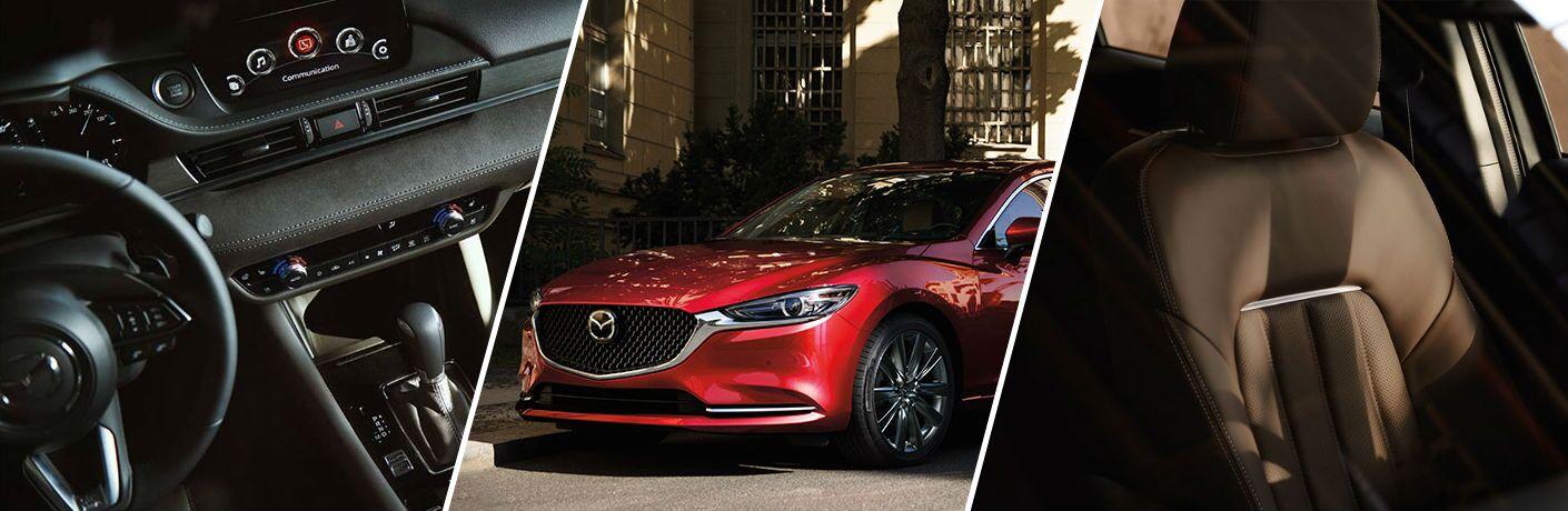 Three-photo grid of 2019 Mazda6 interior and exterior