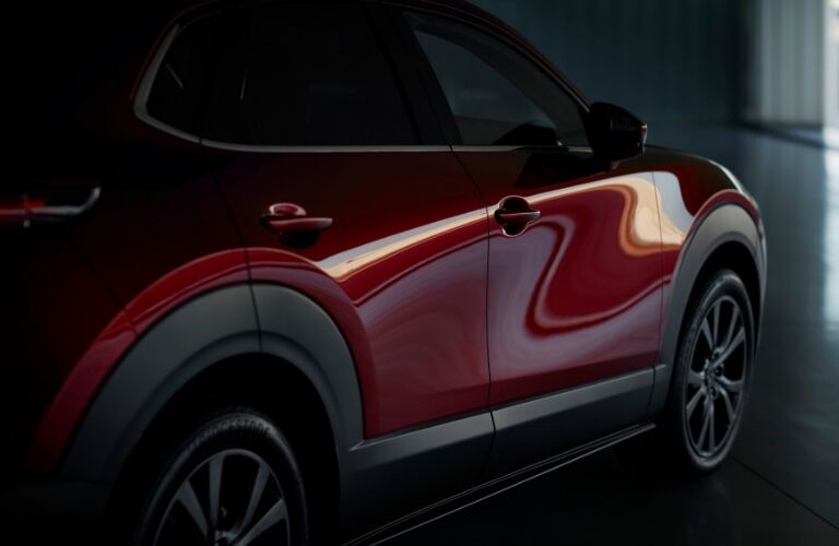 Side of red 2020 Mazda CX-30