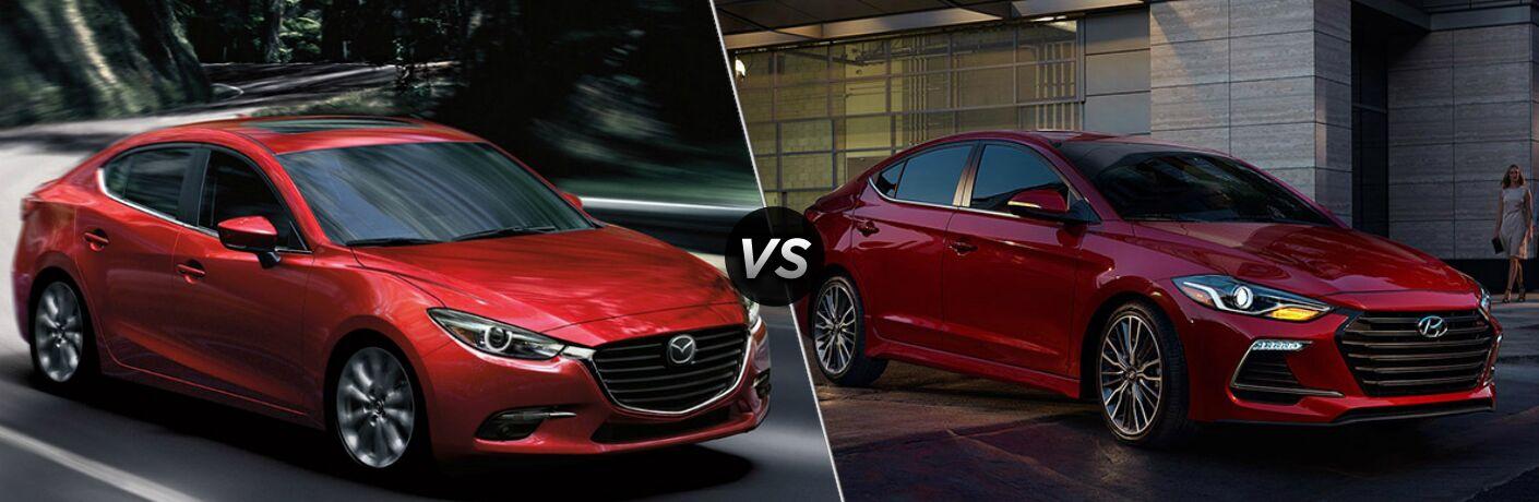 2018 Mazda3 and 2018 Hyundai Elantra side by side