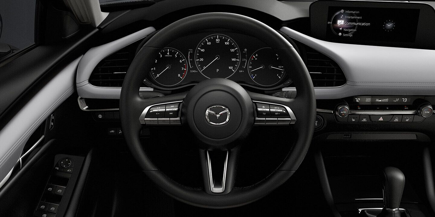 Driver's point of view of the Mazda3 cockpit