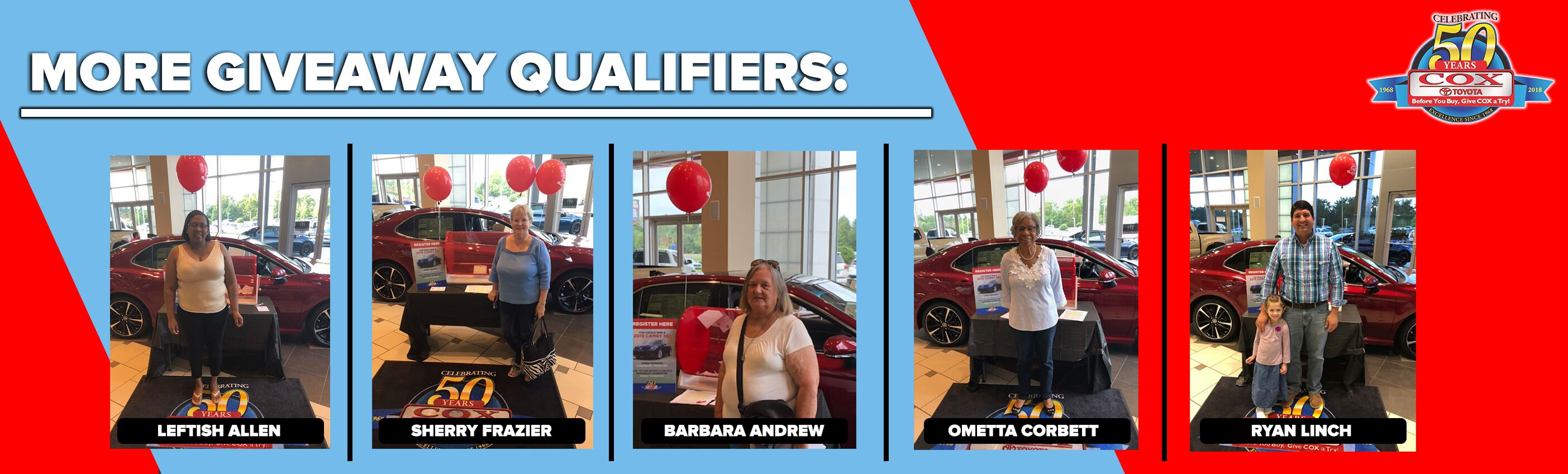 Cox 50 Year Car Giveaway Qualifiers