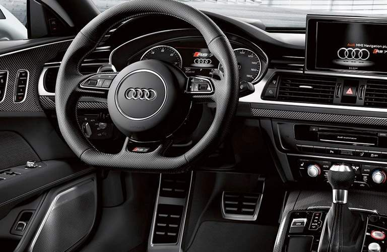 Interior of Audi Vehicle View of Steering Wheel and Driver Side of Interior