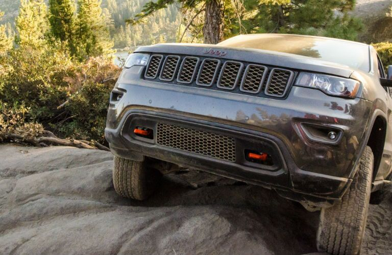 Jeep Model Close Up of Front End in Gray Exterior Coloring