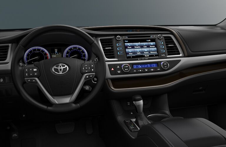 Steering Wheel, Gauges, and Touchscreen of 2018 Toyota Highlander
