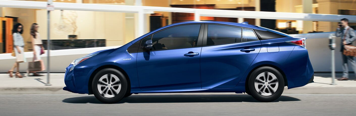 Side View of Blue 2018 Toyota Prius