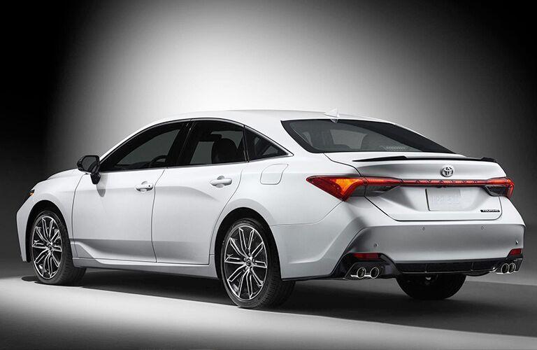 Rear View of White 2019 Toyota Avalon