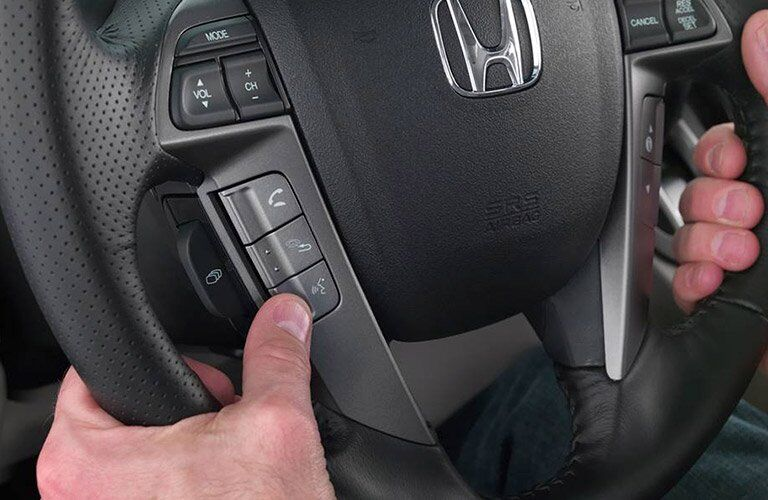 Closeup of 2017 Honda Odyssey steering wheel controls