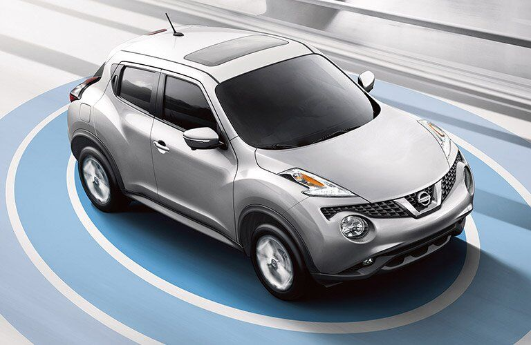silver 2017 Nissan Juke exterior top front view