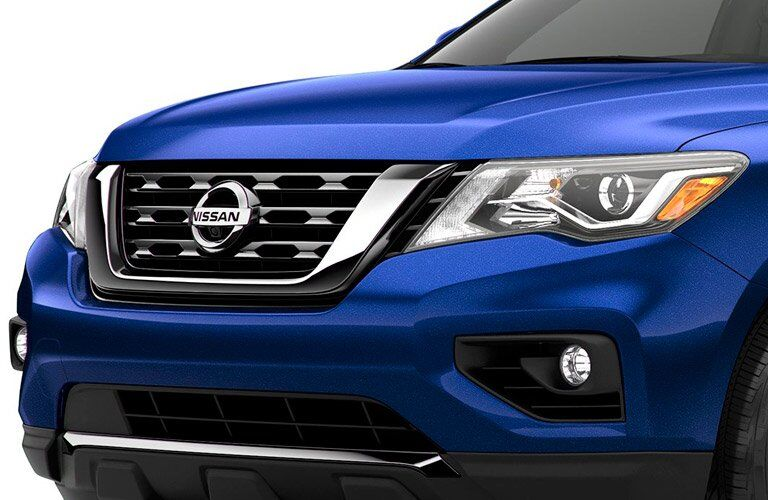 closeup of front grille of 2017 Nissan Pathfinder