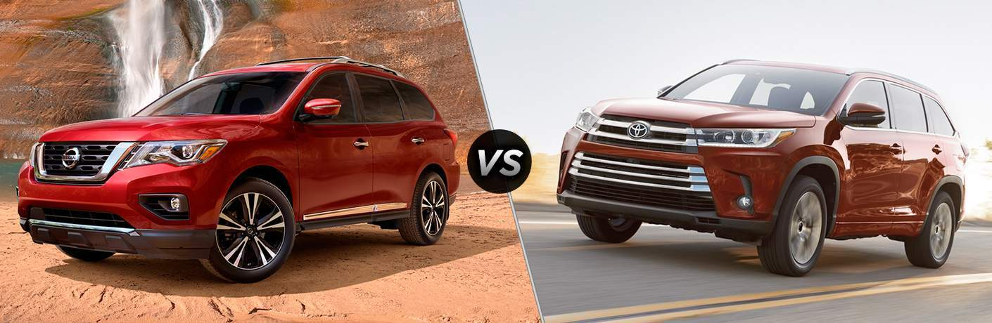 red 2017 Nissan Pathfinder and red 2017 Toyota Highlander exteriors