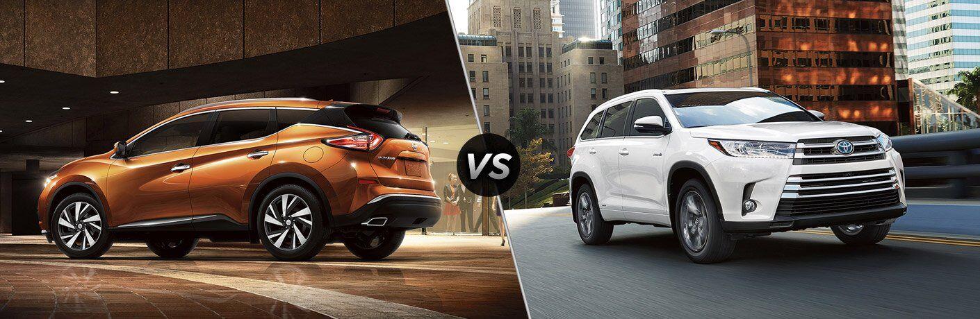 2017 Nissan Murano and 2017 Toyota Highlander exteriors