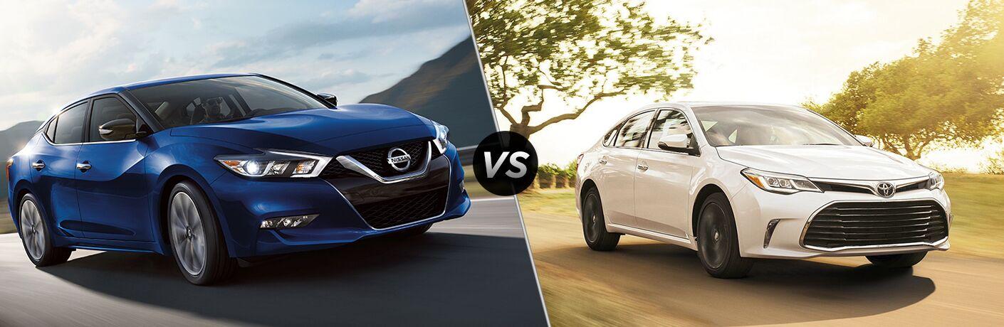 2018 Blue Nissan Maximum Exterior Front vs 2018 White Toyota Avalon Front Passenger Side View