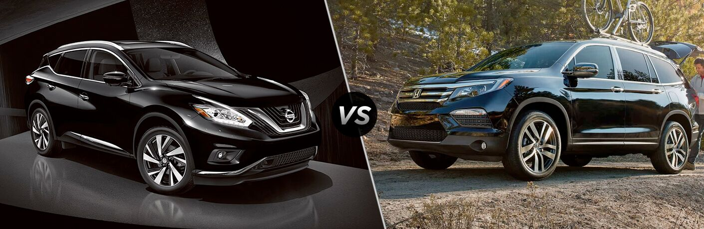 Comparison image of black 2018 Nissan Murano and blue 2018 Honda Pilot