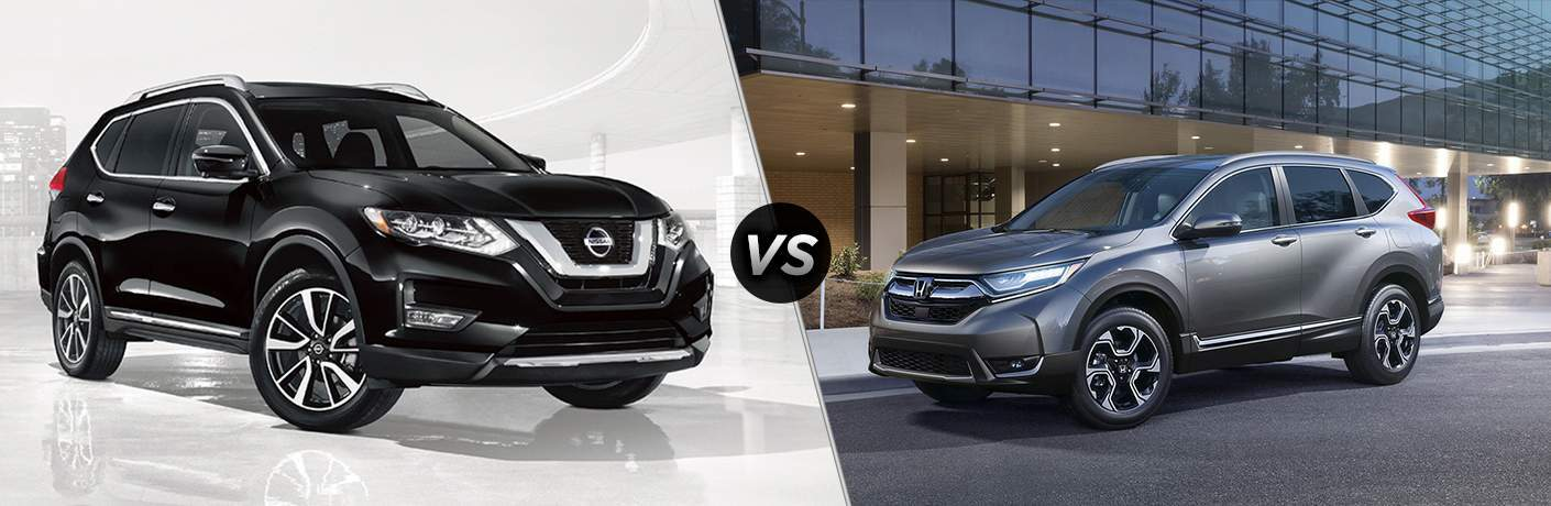 2018 Nissan Rogue and 2018 Honda CR-V side by side