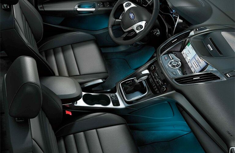 2018 Ford C-Max interior front cabin looking down from ceiling and blue ambient lighting
