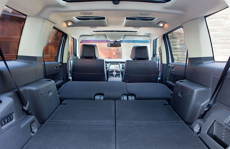2018 Ford Flex interior back cabin storage space with 2 rows folded down