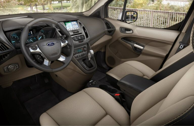 2018 Ford Transit Connect interior front  cabin steering wheel and dashboard