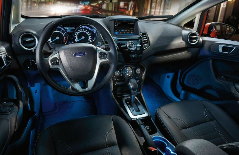 2018 Ford Fiesta front interior with blue ambient lighting