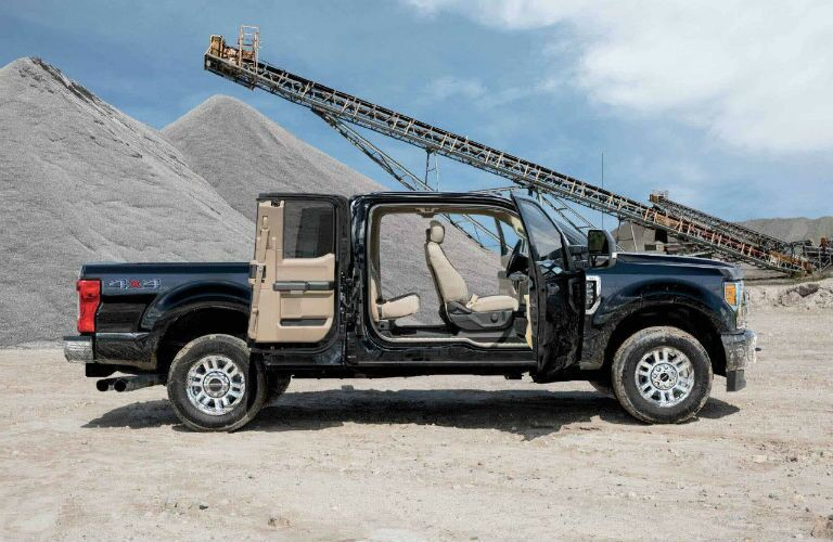 2018 Ford Super Duty SuperCab with doors wide open