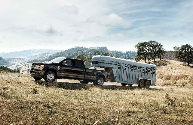 2018 Ford Super Duty pulling a horse trailer