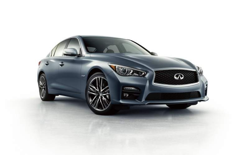 blue gray Infiniti Q50- front side view