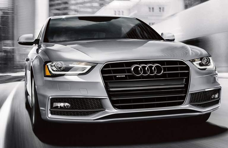 silver Audi A4 front view