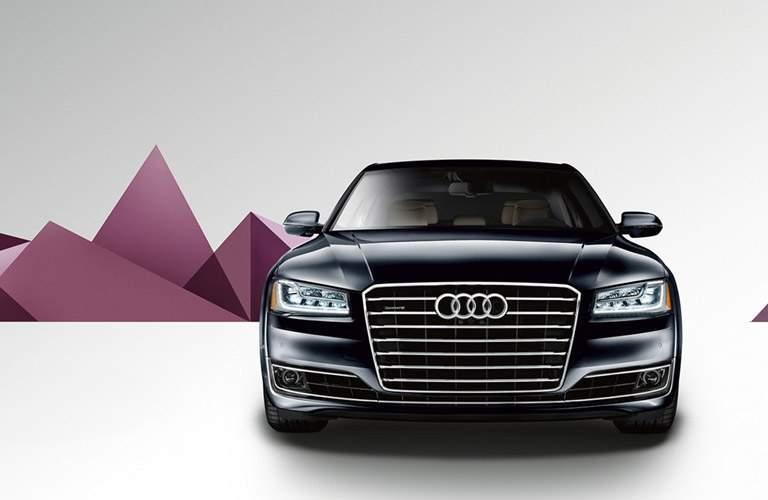 black Audi A8 L front view