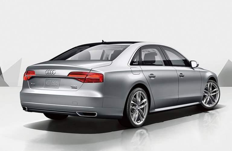 silver Audi A8 L back side view