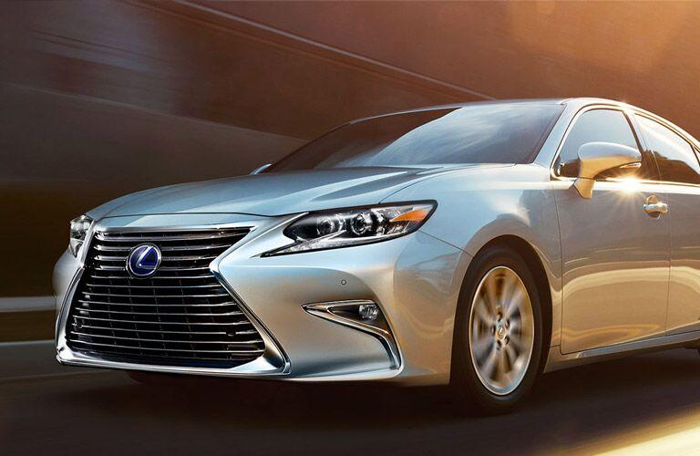 silver Lexus ES Hybrid front side view