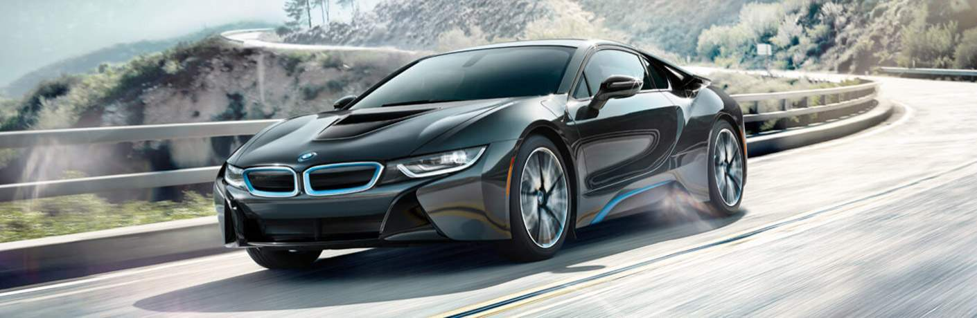 black BMW i8 front side view