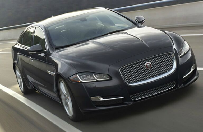 gray Jaguar XJ front side view