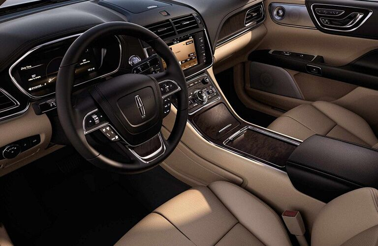 2018 Lincoln Continental interior steering wheel and dashboard