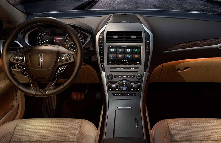 2018 Lincoln MKZ interior steering wheel and center console