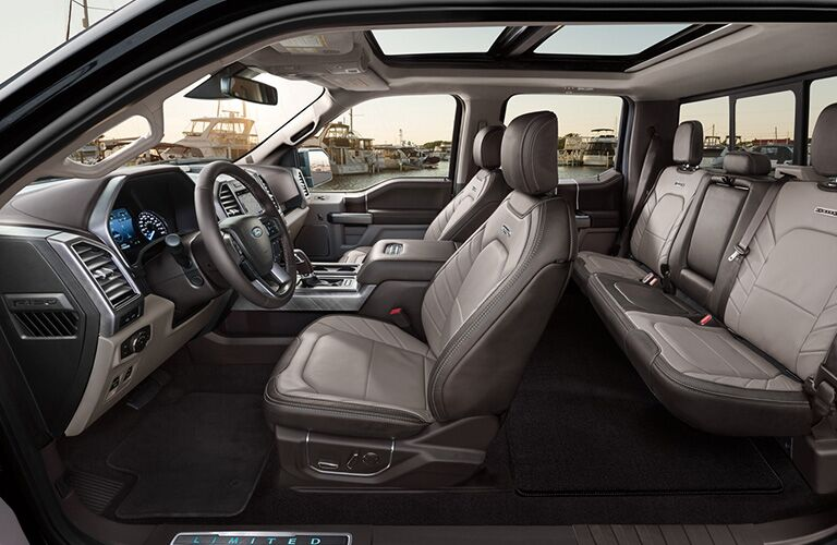2020 Ford F-150 interior side shot of two-row seating upholstery and overhead sunroof