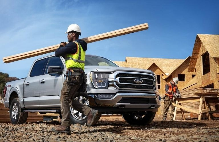 2021 Ford F-150 on Building Construction Site with Workers