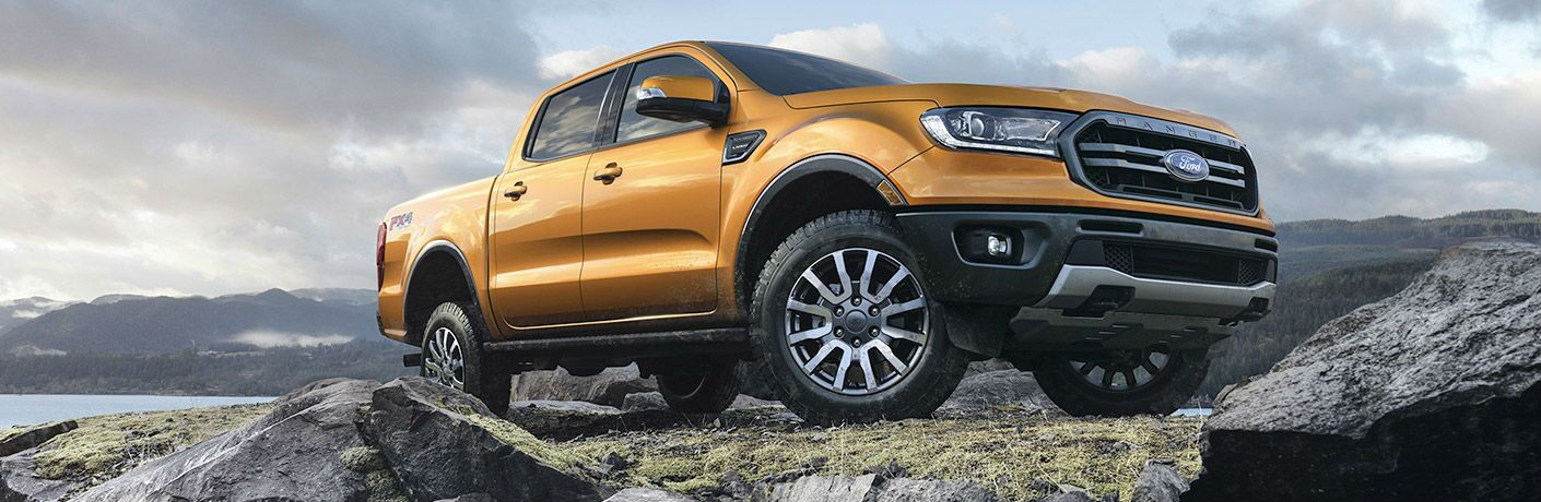 A photo of the 2020 Ford Ranger parked on some rocks.