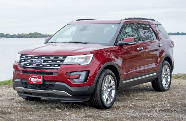 2017 Ford Explorer red side view