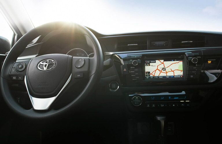 Steering wheel and dashboard in 2016 Toyota Corolla