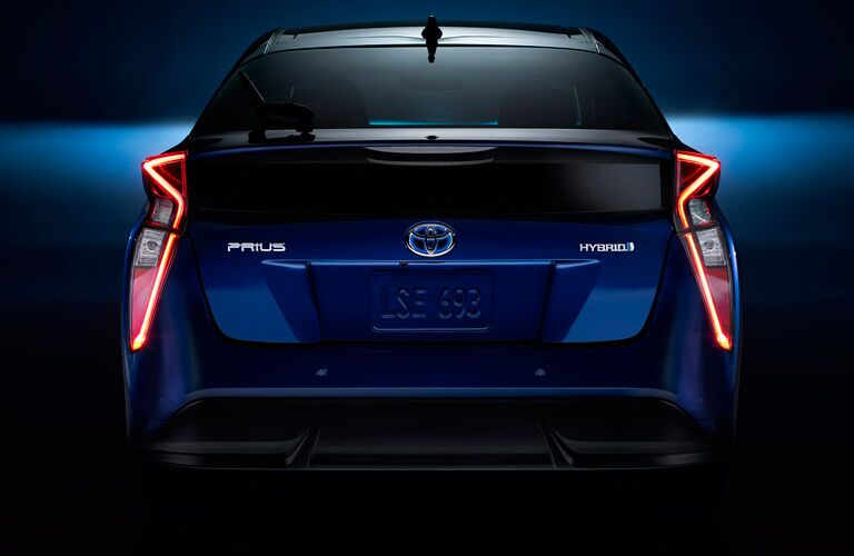 Rear End View of 2017 Toyota Prius in Blue