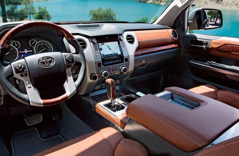 Interior of the 2017 Toyota Tundra in Tan