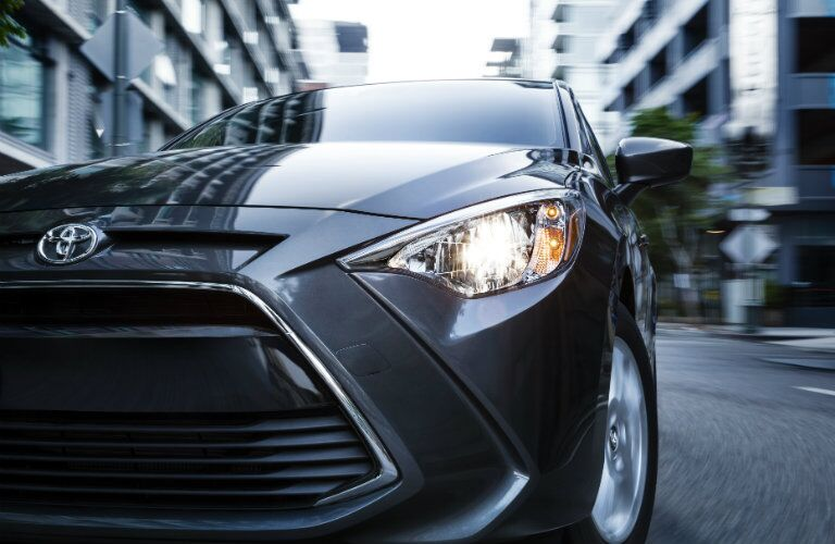 2017 Toyota Yaris close up on front headlight_o