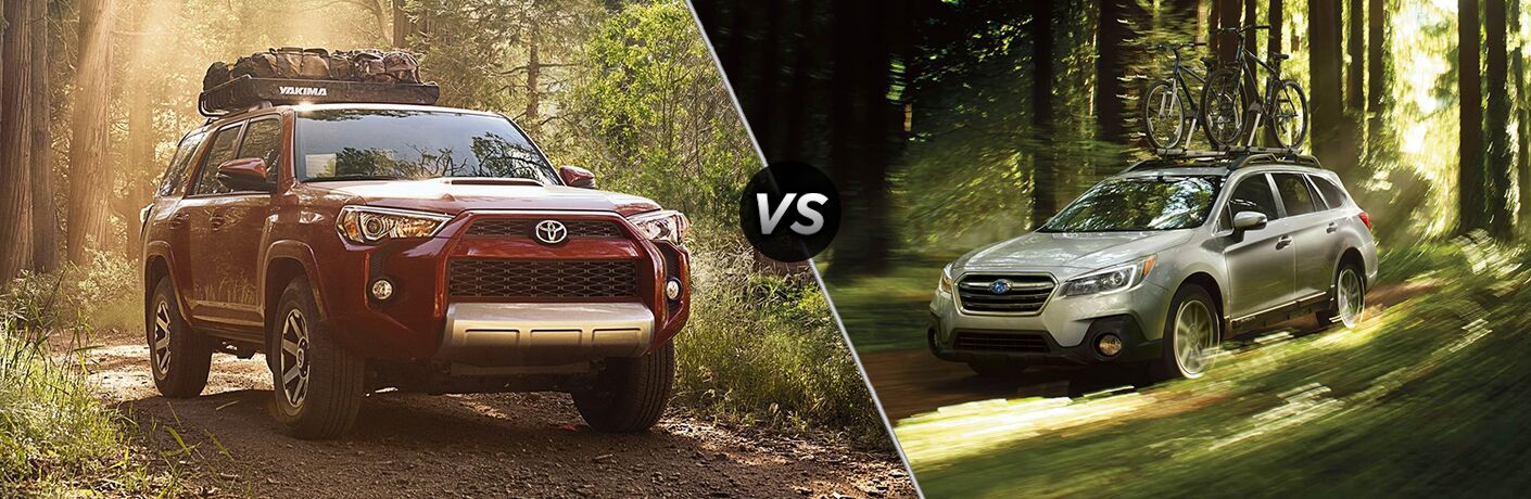 Split screen images of the 2018 Toyota 4Runner and the 2018 Subaru Outback