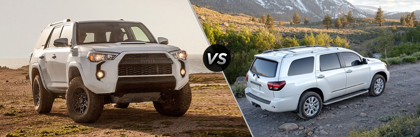 Split screen images of the 2018 Toyota 4Runner and the 2018 Toyota Sequoia