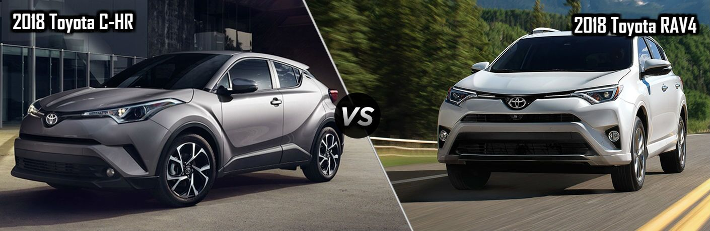 2018 Toyota C-HR in Gray vs 2018 Toyota RAV4 in White