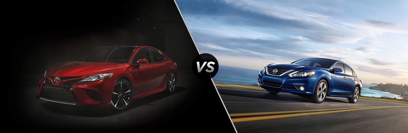 2018 Toyota Camry in Red vs 2018 Nissan Altima in Blue