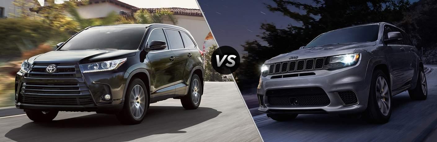 2018 Toyota Highlander in Black vs 2018 Jeep Grand Cherokee in Silver