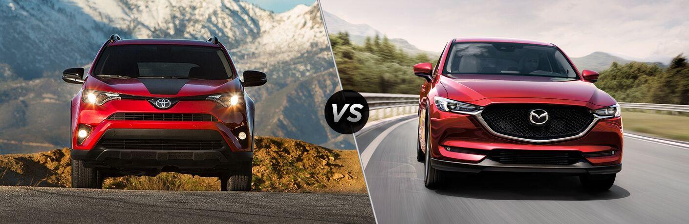 2018 Toyota RAV4 in Red vs 2018 Mazda CX-5 in Red