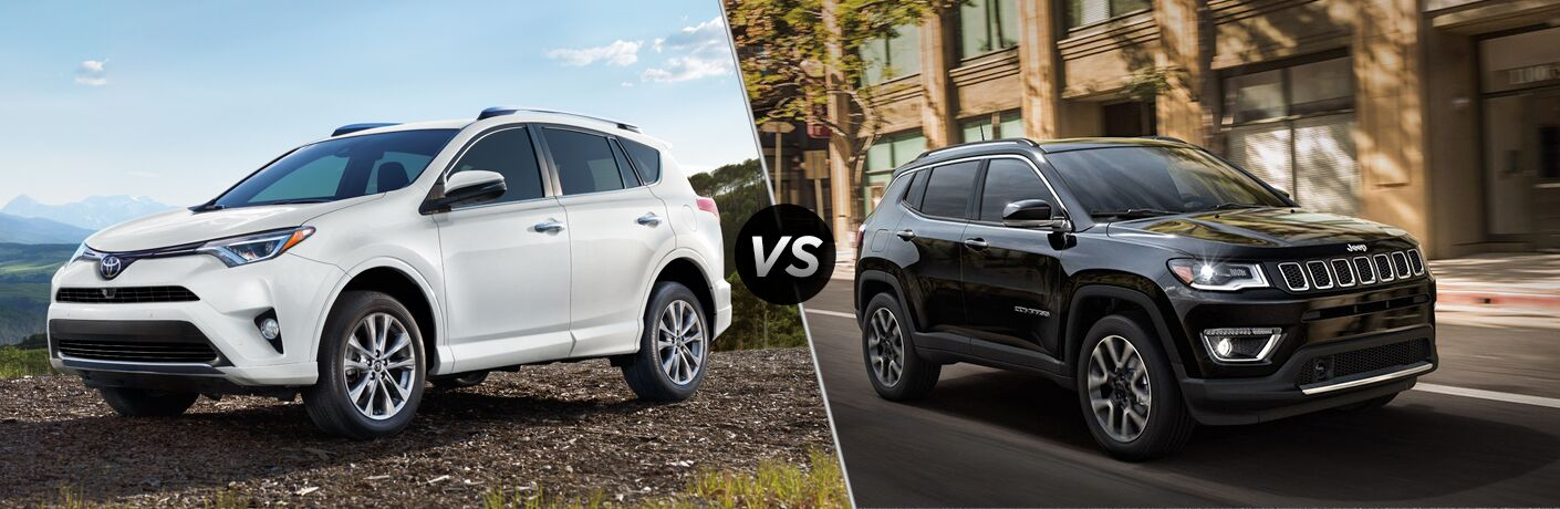 Split screen images of the 2018 Toyota RAV4 and the 2018 Jeep Compass