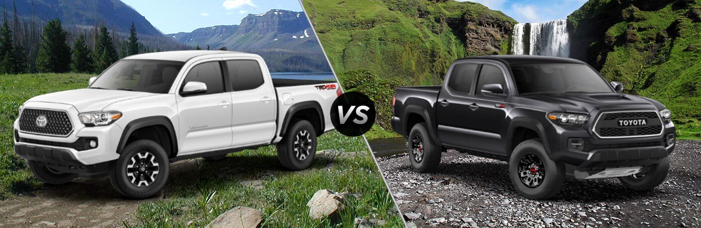 Split screen images of the 2018 Toyota Tacoma TRD Off-Road and TRD Pro trims