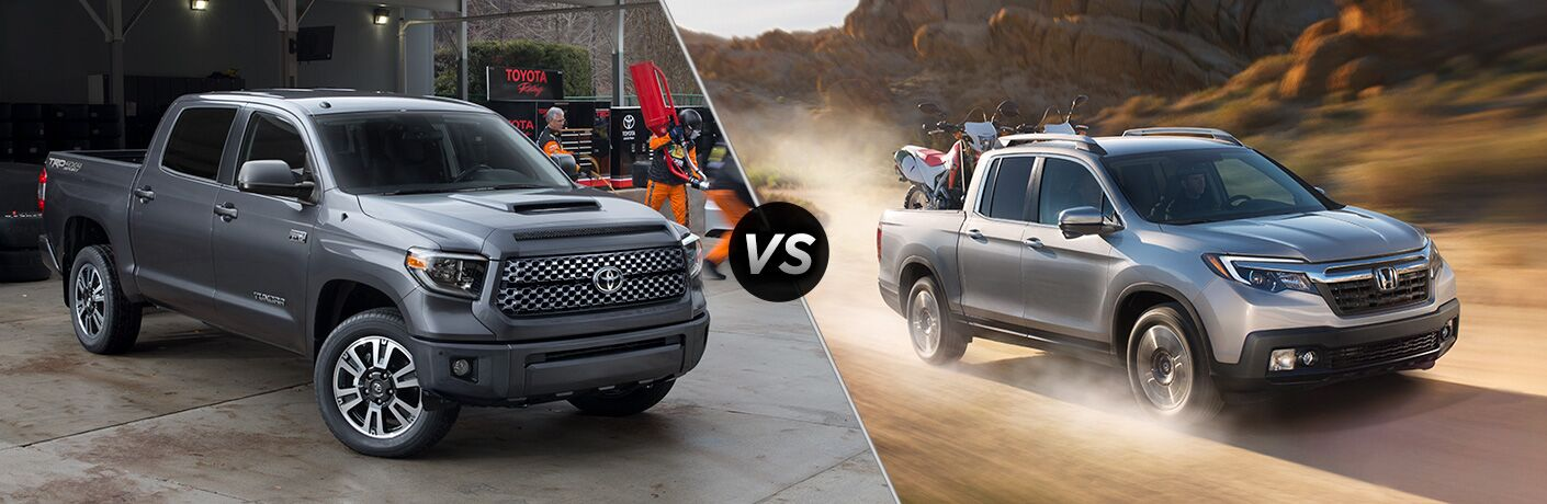 Split screen images of the 2018 Toyota Tacoma and the 2018 Honda Ridgeline